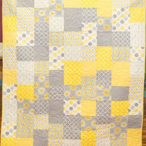 Gold and Grey 9 Patch Quilt